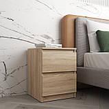 Тумбочка приліжкова тумба в спальню на 2 висувних ящика c фасадами без ручок R-5, фото 3