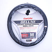 """Оплет руля кожа """"М"""" (37-38см) черный   Carlife Delux SW327"""