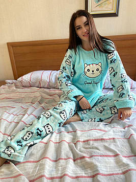 Пижама женская голубая утепленная код П209