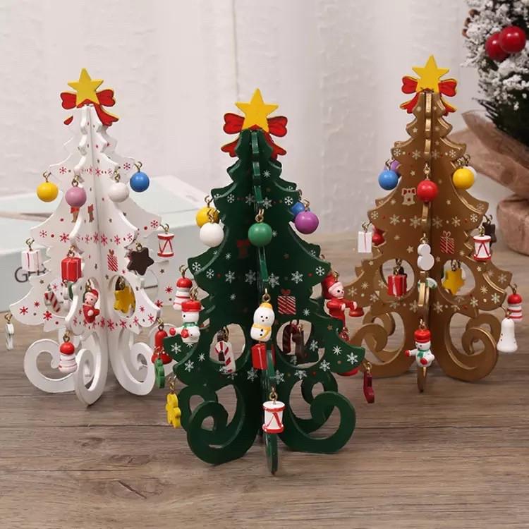 Деревянная ёлочка с украшениями. Развивающая игрушка Елка Новогодняя.