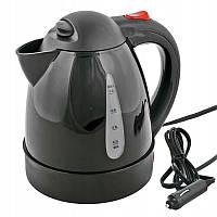 Чайник 12V 1л  150W / пластик/дисковый (вкл-выкл/авто выкл/индикатор питания/защ.перегрева) Black