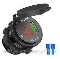 Гніздо під 1 USB+ Вольтметр+Амперметр DC 12-24V/5V підсвічування з різьбленням P-11 Red QC 3.0