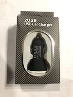 Прикурка на 2*USB (2.1+1A) 12/24V (BOX) Black короткая KO-09