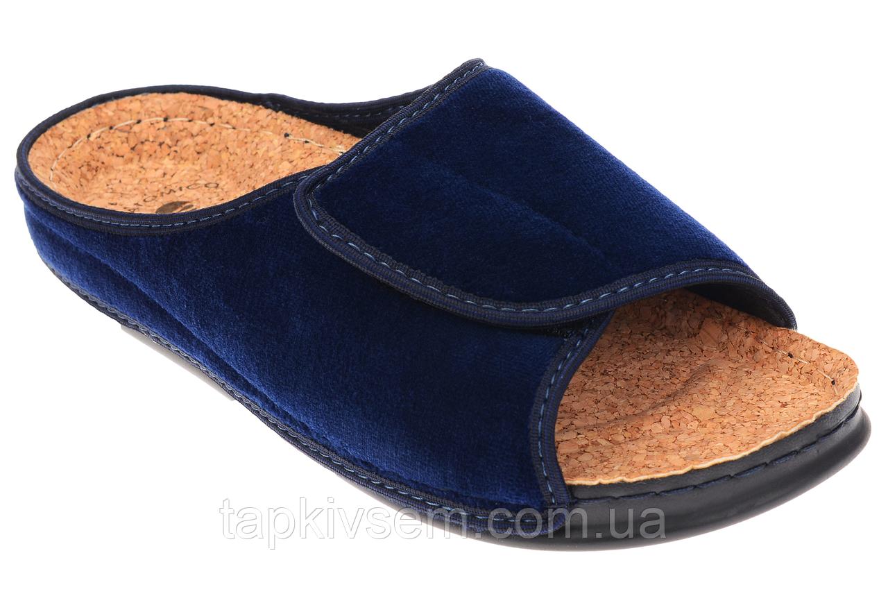 Женские домашние шлёпанцы Inblu DH3J ортопедические полномерные .синий велюр