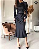 Платье женское вечернее шелковое бежевый, чёрный, морская волна, изумруд 42-44,44-46, фото 10