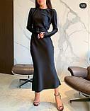 Платье женское вечернее шелковое бежевый, чёрный, морская волна, изумруд 42-44,44-46, фото 7
