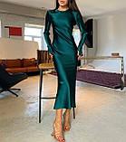 Платье женское вечернее шелковое бежевый, чёрный, морская волна, изумруд 42-44,44-46, фото 6