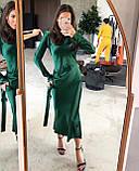 Платье женское вечернее шелковое бежевый, чёрный, морская волна, изумруд 42-44,44-46, фото 3