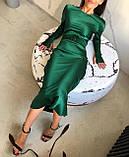 Платье женское вечернее шелковое бежевый, чёрный, морская волна, изумруд 42-44,44-46, фото 4
