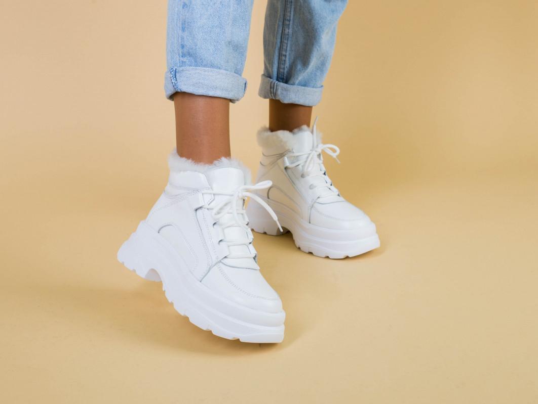 Ботинки женские кожаные белые на шнурках, на толстой подошве, зимние