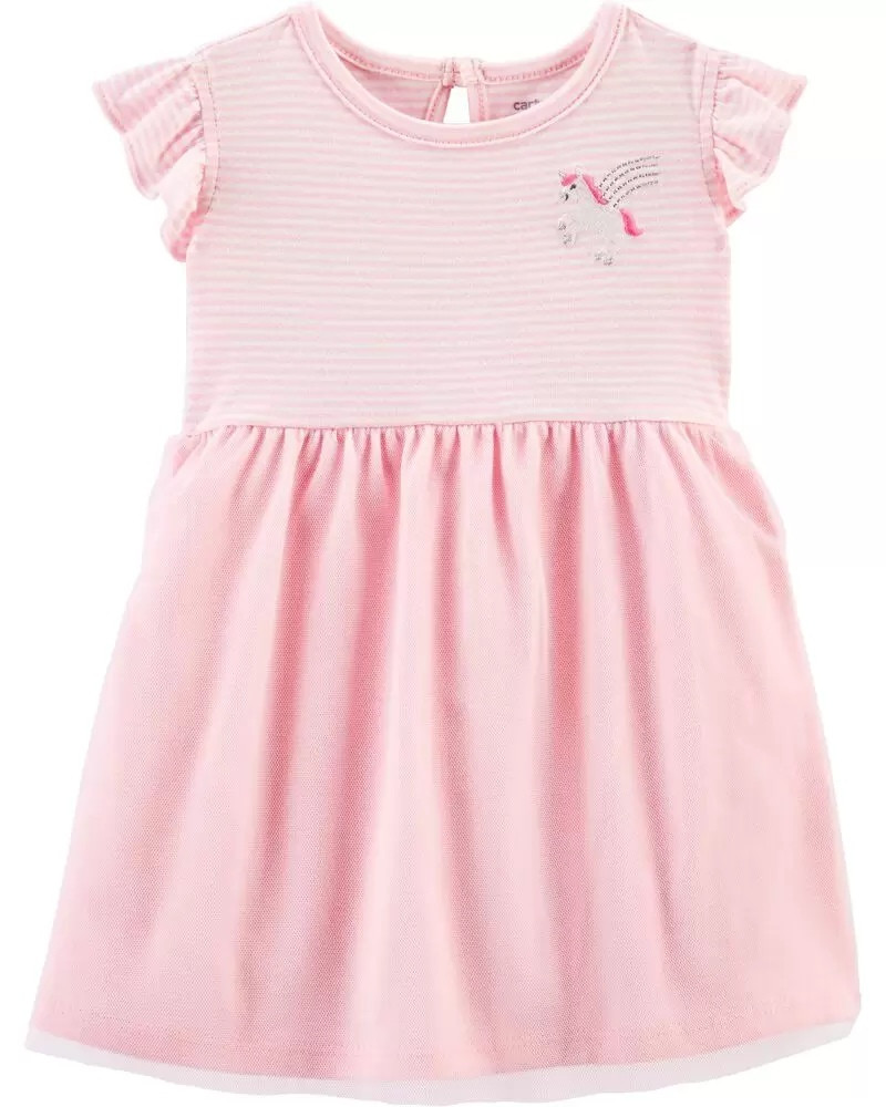 Нарядное летнее платье с пышной юбочкой Единорожек Картерс для девочки