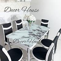 Кухонный стол стеклянный. Белый мрамор и 4 стула