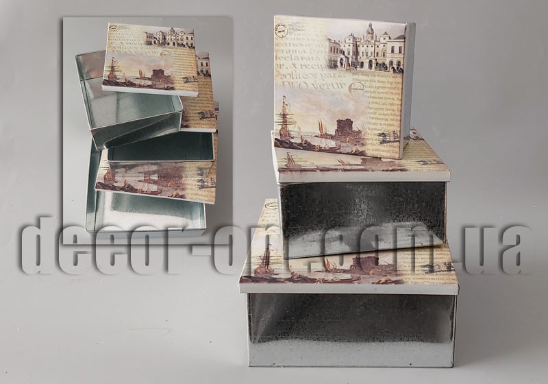 Набор жестяных коробок Старый город 3шт