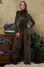 Женский домашний костюм Нана из велюра в темно-зеленом цвете