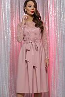 Женское пудровое платье с пайетками Евангелина д/р S