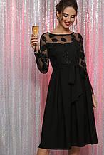 Женское черное платье с прозрачными рукавами Евангелина д/р размер S