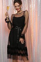 Женское платье черное в сетку с поясом Мариям д/р S, M, L, XL