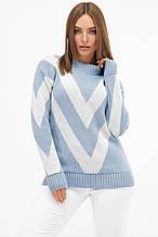 Женский вязаный свитер в голубом  цвете Зигзаг