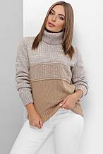 Женский вязаный свитер в серо-бежевом  цвете