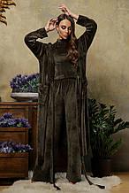 Женский велюровый длинный халат Мирелла в зеленом цвете