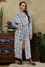 Женский длинный махровый халат Феличе  в сером цвете S, M