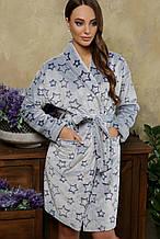 Женский махровый халат Феличе до колен в сером цвете XL