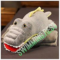 Огромная Игрушка - плед - подушка 3 в 1 Серый Крокодил подарок для детей