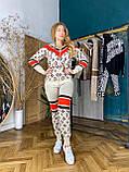 Женский брендовый вязаный костюм с логотипами, в бежевом цвете, р.42/46, фото 5