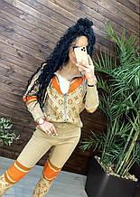 Женский брендовый вязаный костюм с логотипами, в бежевом цвете, р.42/46