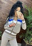 Женский брендовый вязаный костюм с логотипами, в розовом цвете, р.42/46, фото 6
