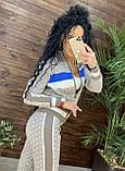 Женский брендовый вязаный костюм с логотипами, в розовом цвете, р.42/46, фото 4