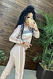 Женский брендовый вязаный костюм с логотипами, в розовом цвете, р.42/46, фото 2