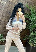 Женский брендовый вязаный костюм с логотипами, в розовом цвете, р.42/46