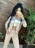 Женский брендовый вязаный костюм с логотипами, в розовом цвете, р.42/46, фото 10
