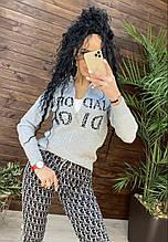 Женский брендовый вязаный костюм с логотипом, в сером цвете, р.42/46