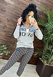 Женский брендовый вязаный костюм с логотипом, в сером цвете, р.42/46, фото 6