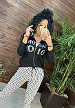 Женский брендовый вязаный костюм с логотипом, в сером цвете, р.42/46, фото 3