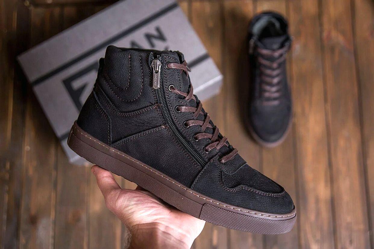 Мужские зимние кожаные кроссовки