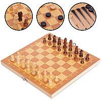 Шахи шашки, нарди 3 в 1 дерев'яні (24х24см) W7721