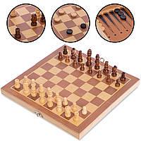 Шахи, шашки, нарди 3 в 1 дерев'яні (24*24см) W2408