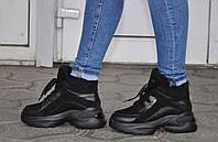 Ботинки - кроссовки демисезонные на байке из натуральной кожи и замши, черные. Только 38 размер - стелька 25.