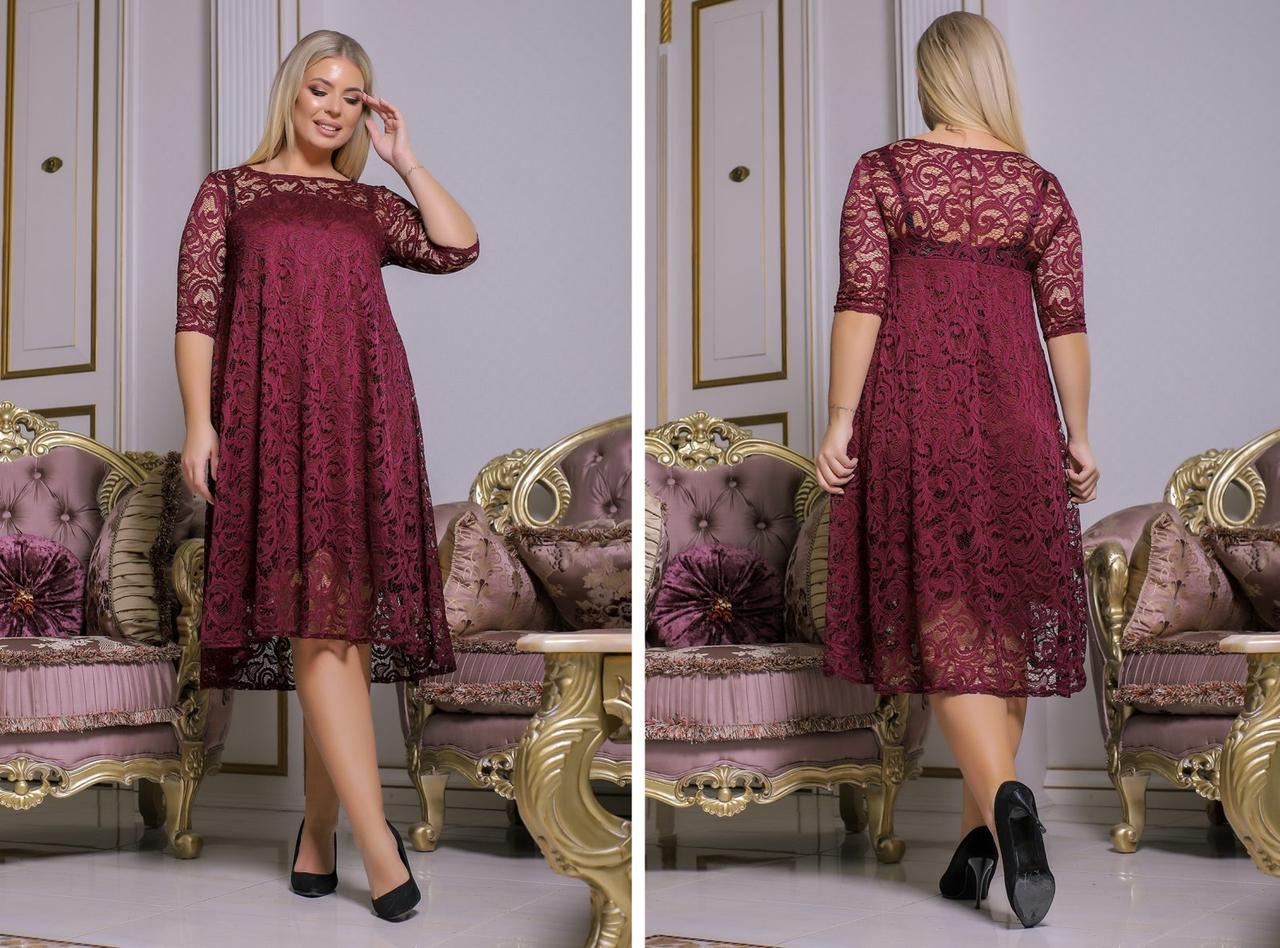 Гипюровое платье люкс бордовое 8136