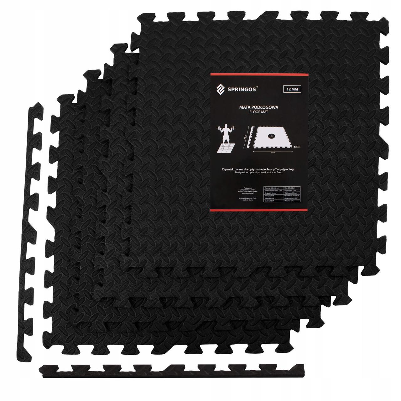 Мат-пазл (ласточкин хвост) Springos Mat Puzzle EVA 120 x 120 x 1.2 cм FM0004 Black. Мат-татами