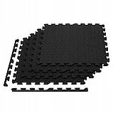 Мат-пазл (ласточкин хвост) Springos Mat Puzzle EVA 120 x 120 x 1.2 cм FM0004 Black. Мат-татами, фото 8