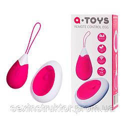 Віброяйце ToyFa A-toys з пультом ДУ, силікон, рожево-білий, 12 см