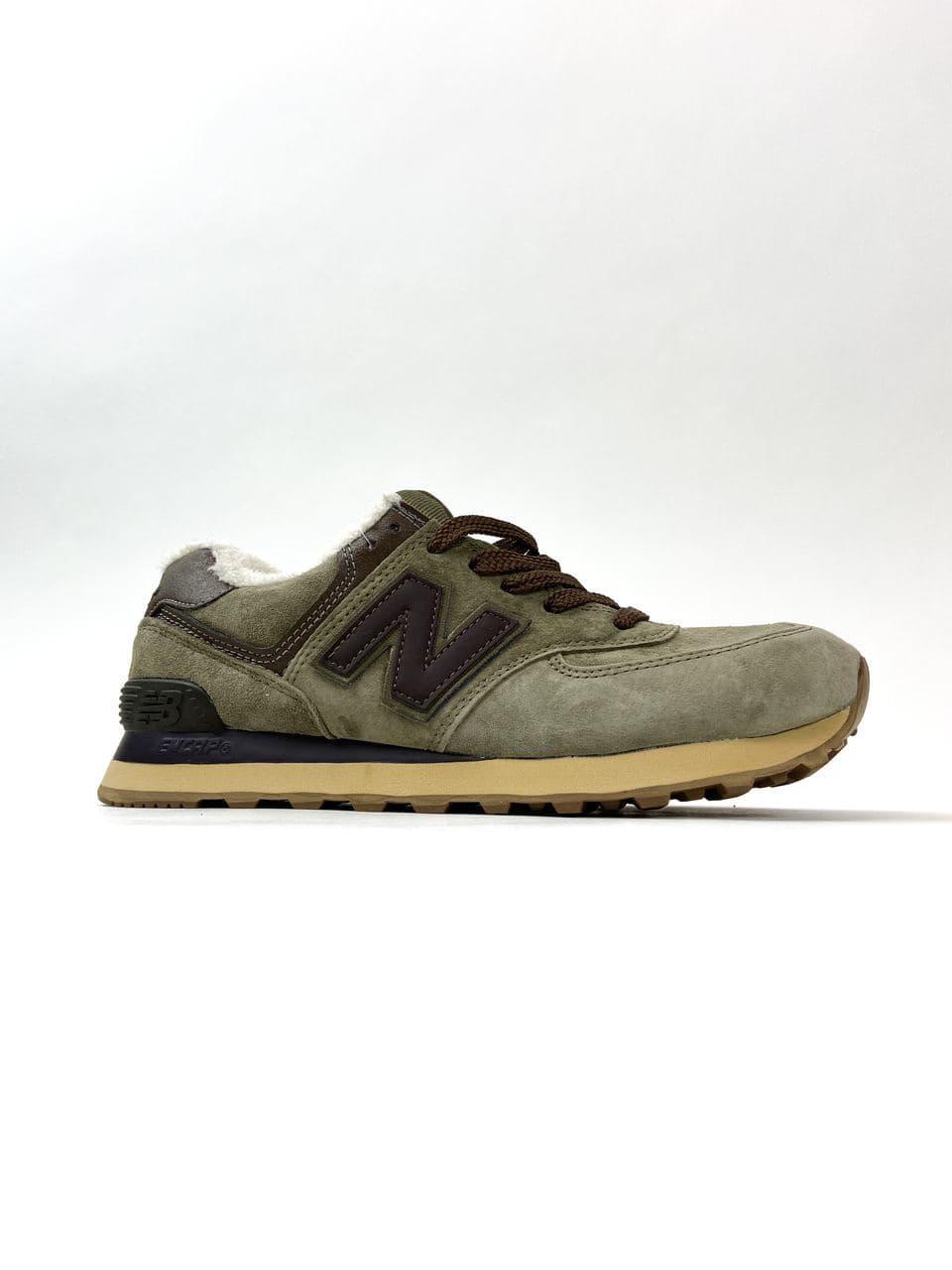 New Balance 574 Green Brown (Мех) (Зеленый)