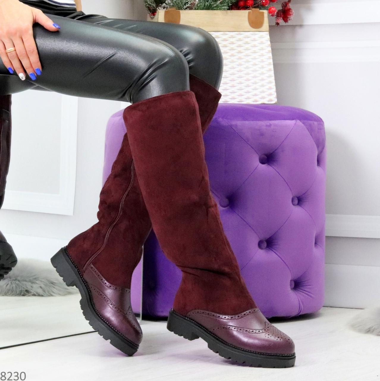 Удобные бордовые замшевые высокие зимние женские сапоги ботфорты 36-23,5 см