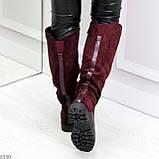 Удобные бордовые замшевые высокие зимние женские сапоги ботфорты 36-23,5 см, фото 2