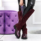 Удобные бордовые замшевые высокие зимние женские сапоги ботфорты 36-23,5 см, фото 5