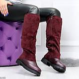 Удобные бордовые замшевые высокие зимние женские сапоги ботфорты 36-23,5 см, фото 6